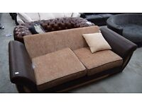 NEW EX DISPLAY SHANNON BROWN LEATHER AND FABRIC 3 SEATER SOFA UN USED