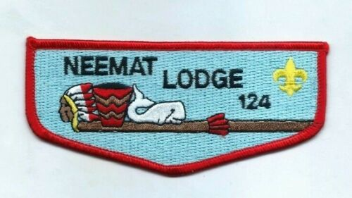 """Brand New Rare """"Neemat Lodge 124 Flap Red Border OA Boy Scouts Patch"""" Mint Cond"""