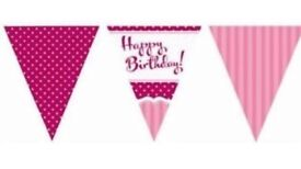 Happy birthday pink bunting triangle flags