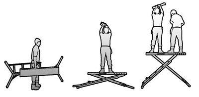 X-deck Safety Work Platform Ladder - Portable Lightweight Scaffold - 3 Step
