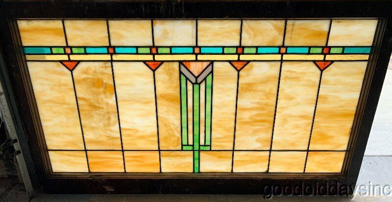 "Antique Stained Leaded Glass Transom Window 43"" x 25"" Circa 1920"