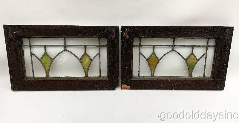 """2  Antique Chicago Stained Leaded Glass Transom Windows 20"""" x 12"""""""