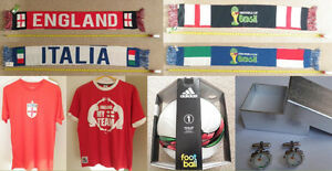 Soccer scarfs (England, Italy, Netherlands), t-shirts, cufflinks