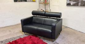 Designer Black Leather 2 Seater Sofa