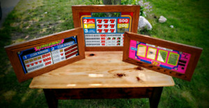 Framed glass displays from slot machines