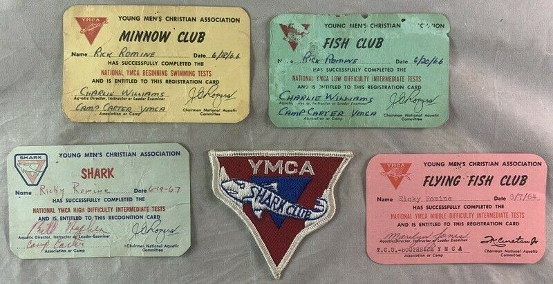 1960s Lot of YMCA Club Cards & Patch / Shark Minnow Flying Fish & Fish Clubs