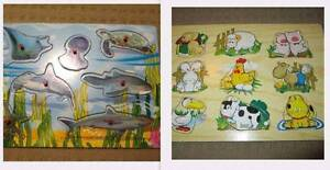 2 x Wood Peg Puzzles, Happy Farm & Sea Animals Creatures Southport Gold Coast City Preview