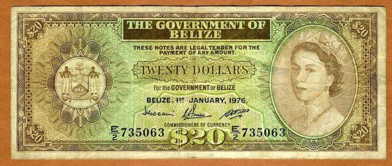 Belize, 20 Dollars, 1976, QEII, P-37 (37c), VG > Rare