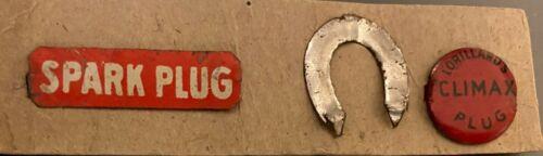 3 Chewing Tobacco Tags ca 1870-1930 - Spark Plug, Horseshoe, Lorrillards Climax