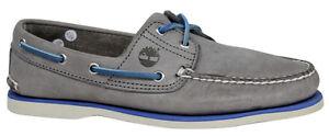 Timberland-2-Ojales-cuero-con-Cordones-Zapatos-Nauticos-Hombre-Gris-a16kc-T1