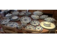Assortment of Delph and Burslem antique tableware blue and white