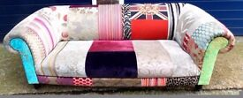 BEAUTIFUL DESIGNER GUILD PATCHWORK COVERED CHESTERFIELD LUXURIOUS SOFA EX SHOW DISPLAY VG CONDITION