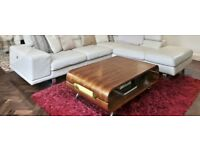 Coffee table with storage in natural wood