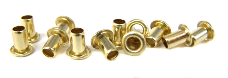 "12pc. ""Short Shaft"" Brass Eyelets - Cigar Box Guitar String Ferrules"