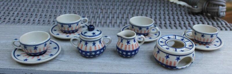Polish Pottery Mini Tea Set Red White and Blue Patriotic Stars