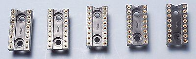 Qty 5 Emc 16-pin Dip All Gold High-reliability Usa Ic Socket Hi-rel High-rel