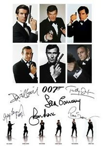 JAMES BOND SIGNED BY ALL 6 BONDS A4 PHOTOGRAPH 1 (DANIEL CRAIG - SEAN CONNERY )