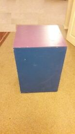 Large MDF, painted toy chest, with lid,on castors.