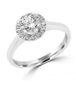RING 14K+DIAMONDS.0.60 SI2 G GIA+0.15 CT SI HALO