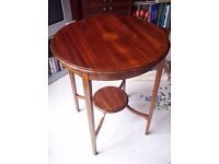Round table, mahogany inlaid coffee table occasional-centre-lamp-wine. Sheraton lamp table c.1900