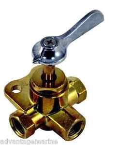 MARPAC MARINE 3-WAY BOAT FUEL VALVE BRASS 3/8