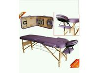 LIGHT WEIGHT PORTABLE MASSAGE TABLE BEAUTY THERAPY COUCH BED 2 SECTION WOODEN