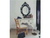 White antique shabby chic vanity dressing table