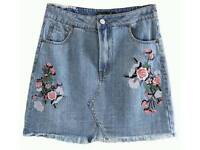 New Ladies Fashion Blue Embroidery Decorated Flower Skirt
