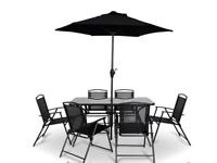 B&Q Garden dining set - 6 seaters, parasol and table