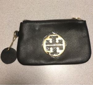 Tory Burch inspired black leather clutch with gold detail NEW