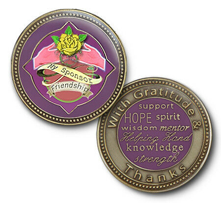 Sponsor recovery coin AA triplate alcoholics anonymous token chip medallion