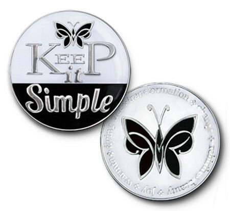 Keep It Simple Triplate Alcoholics Anonymous AA coin chip medallion token