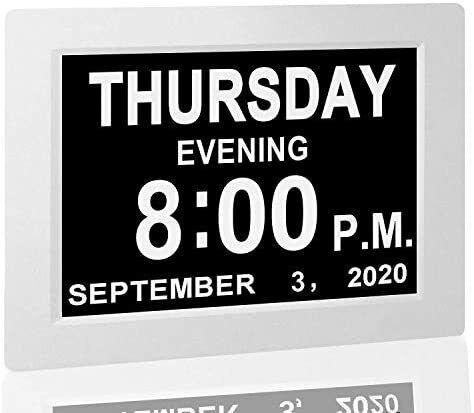 "Digital Calendar Alarm Day Clock - with 8"" Large Screen Display, am pm"