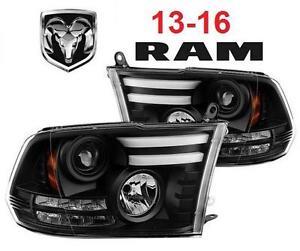 NEW 13-16 DODGE RAM HEADLIGHTS - 125653044 - Spyder Auto Projector Headlights Black