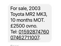 Toyota, MR2, Convertible, 2003, Manual, 1794 (cc), 2 doors