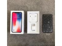 IPhone X 256gb in silver with box and warranty