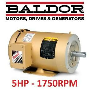 NEW* BALDOR 5HP 1750RPM MOTOR 5HP, 1750RPM, 3PH, 60HZ, 184TC, 3642M, TEFC, F1 106502675