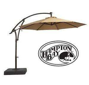 NEW* HAMPTON BAY OFFSET UMBRELLA - 125234344 - WITH SOLAR LED LIGHTS IN TAN