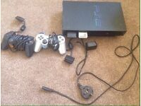 Sony PS2 + Controllers+Cables+Memory cards