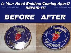 saab hood emblem decal sticker scania 900 93