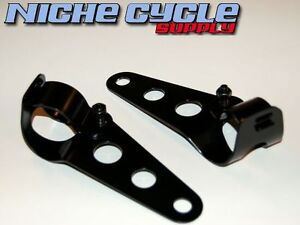 Headlight-Mounting-Brackets-Universal-Side-Mount-Vintage-Cafe-Bobber-Ears-Black