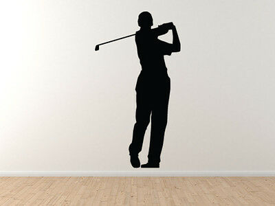 - Sport Silhouette - Golf Golfer Detail Swinging Version 2 - Vinyl Wall Decal