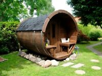Barrel sauna with electric heater