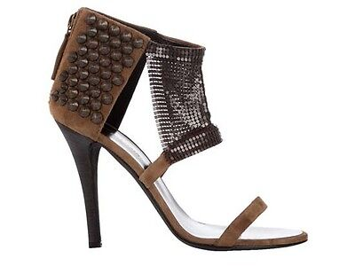 Used, Giuzeppe Zanotti for Balmain Suede Metallic Mesh Studded Sandals Shoes Heels 41 for sale  Shipping to Ireland