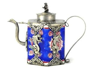 Collectible-chinese-tibet-silver-blue-porcelain-inlay-Gecko-teapot-Monkey-lid