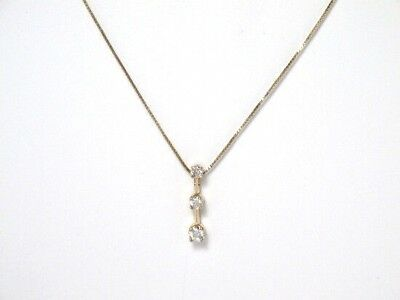 14k Yellow Gold Round Diamond 3 Stone Journey Pendant and Necklace Set -