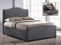 Brunswick Grey Fabric Ottoman Storage Double Bed