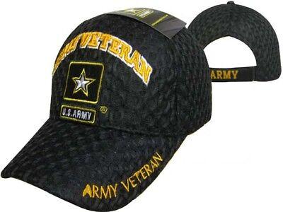 U.S. Army Star Veteran Vet Textured Mesh Ball Cap Embroidered 3D Hat CAP591H