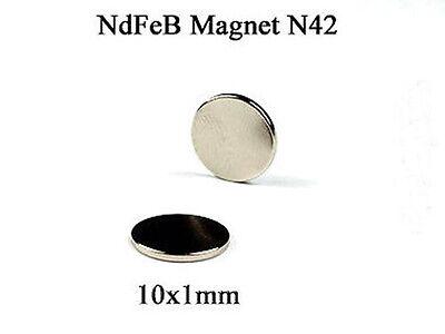 Neodym Mini Magnet 10x1mm 1 Stk. Super starke Magnete Pinnwand Kühlschrankmagnet