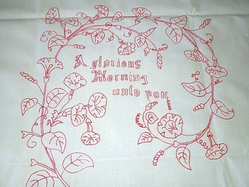 ANTIQUE LAYOVER SHAM OR PILLOWCOVER WITH TURKEY RED EMBROIDERY